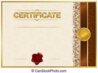 élégant, gabarit, de, certificat, diplôme