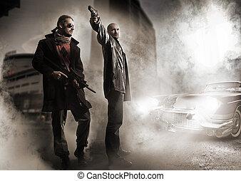élégant, gangsters, vieux, voiture