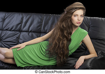 élégant, girl, vert, jeune, robe