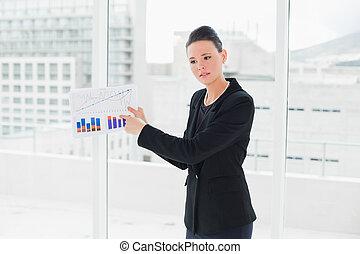 élégant, graphiques, jeune, bureau, femme affaires