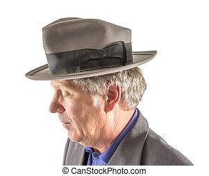 élégant, homme, chapeau, complet