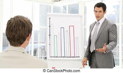 élégant, homme, sta, business, présentation