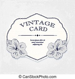 élégant, invitation mariage, conception, carte voeux, banner., cadre, à, hibiscus, flowers., vecteur, illustration.