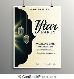 élégant, invitation, modèle partie, iftar