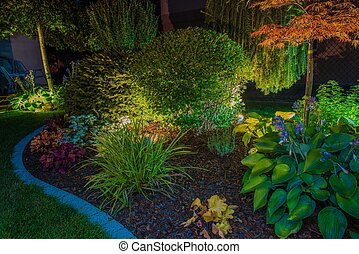 élégant, jardin, illumination