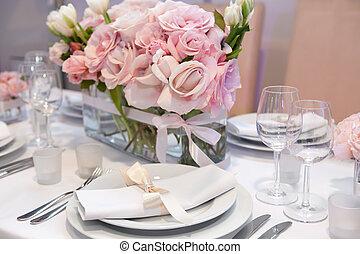 élégant, montage dîner, détail