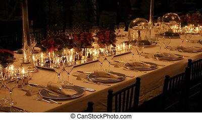 élégant, montage dîner, table, 6