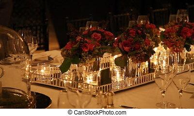 élégant, montage dîner, table, 8