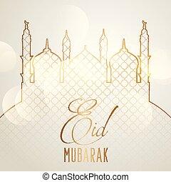 élégant, mubarak, eid, fond