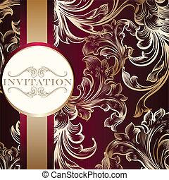 élégant, ornement, carte, invitation