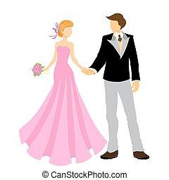 élégant, palefrenier, mariée