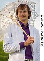 élégant, parapluie, homme