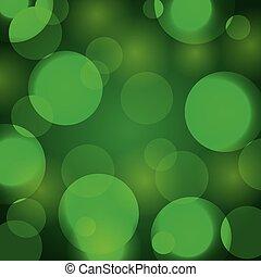 élégant, résumé, lumières, arrière-plan vert, noël