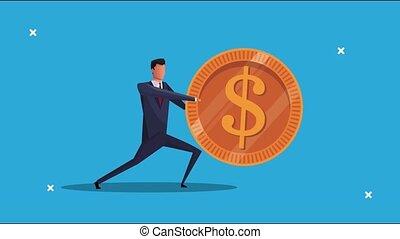 élégant, réussi, animation, homme affaires, monnaie, pousser
