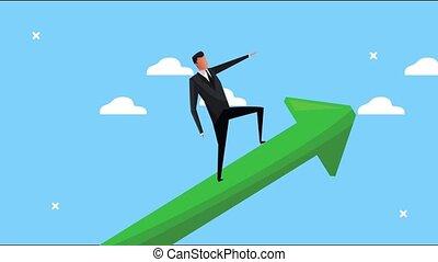 élégant, réussi, flèche, homme affaires, haut, escalade