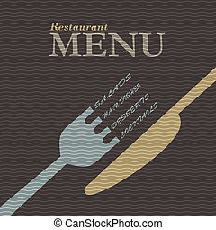 élégant, restaurant, conception, menu