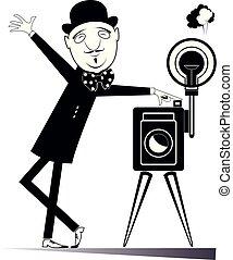 élégant, retro, photographe, illustration, appareil photo