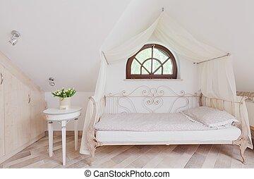 élégant, romantique, lit, chambre à coucher