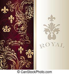 élégant, royal, carte, invitation