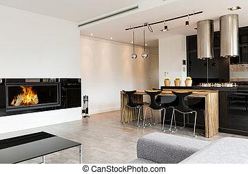 élégant, salle de séjour, minimaliste