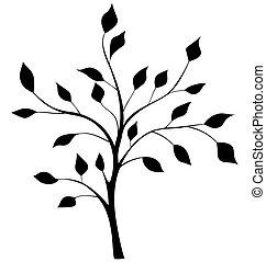 élégant, silhouette, arbre