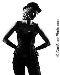 élégant, silhouette, femme