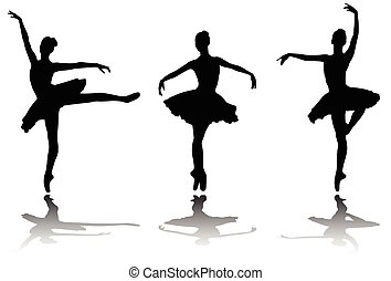 élégant, silhouettes, ballerines
