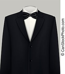 élégant, smoking, complet, cravate, arc