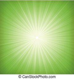 élégant, starburst, arrière-plan vert