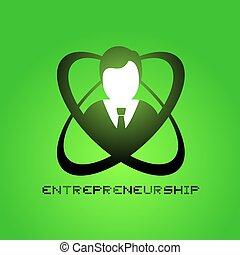 élégant, symbole, vert, entrepreneurship