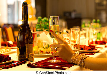 élégant, tenue femme, flûte, champagne
