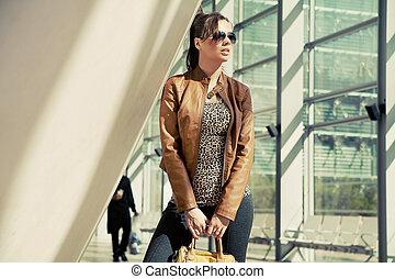 élégant, tenue femme, sac