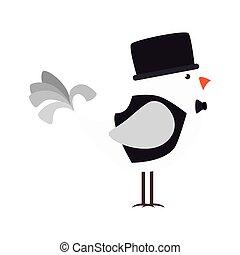 élégant, vêtements, dessin animé, oiseau