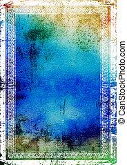élégant, vendange, frontière, frame:, résumé, textured, fond, à, bleu, vert, et, brun, motifs
