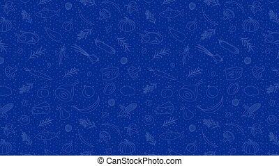 élément, arrière-plan., bleu, animé, nourriture, conception, griffonnage