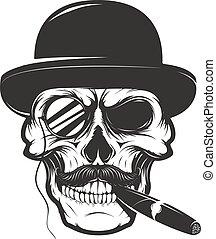 élément, chapeau, conception, la, logo, cigare, monocle., ...
