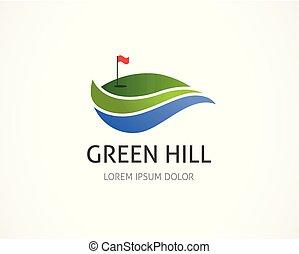 élément, club, symbole, logo, icône, golf
