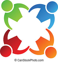 élément, conception, 4, équipe, logo, prise