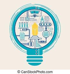 élément, créatif, ampoule, infographic, education