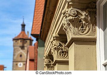 élément décoratif, architectural, fond, brouillé