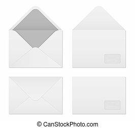 élément, ensemble, art, enveloppes, graphique, isolé, sizes., créatif, letter., arrière-plan., emballage, papier, conception, illustration, gabarit, vide, international, blanc, norme, exemple, vide