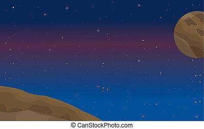 élément, espace, paysage, nuit