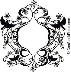 élément, flourishes, graphique, fleurs, oiseaux, 2