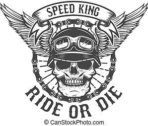élément, power., die., ou, motard, conception, wings., coureur, crâne, cavalcade