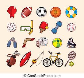 élément, sport, ensemble, icônes