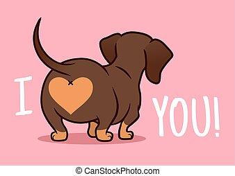 """élément, you"""", conception, cut?, valentine, vecteur, saucisse, isolé, fesses, illustration, amour, amants, animaux familiers, dessin animé, jour, teckel, arrière-plan., """"i, coeur, chiot, rose, chien, theme., rigolote"""