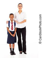 élémentaire, écolière, prof