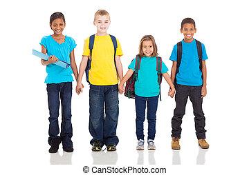 élémentaire, élèves, tenant mains