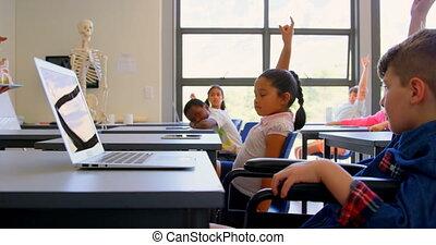 élémentaire, élevant main, bureau scolaire, quoique,...