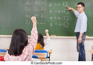 élémentaire, étudiants, école, élévation, mains